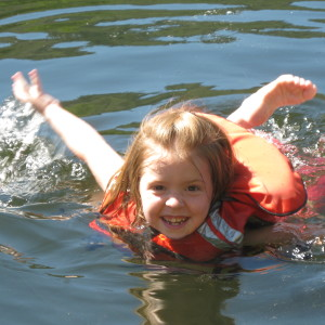 Picture of little girl swimming